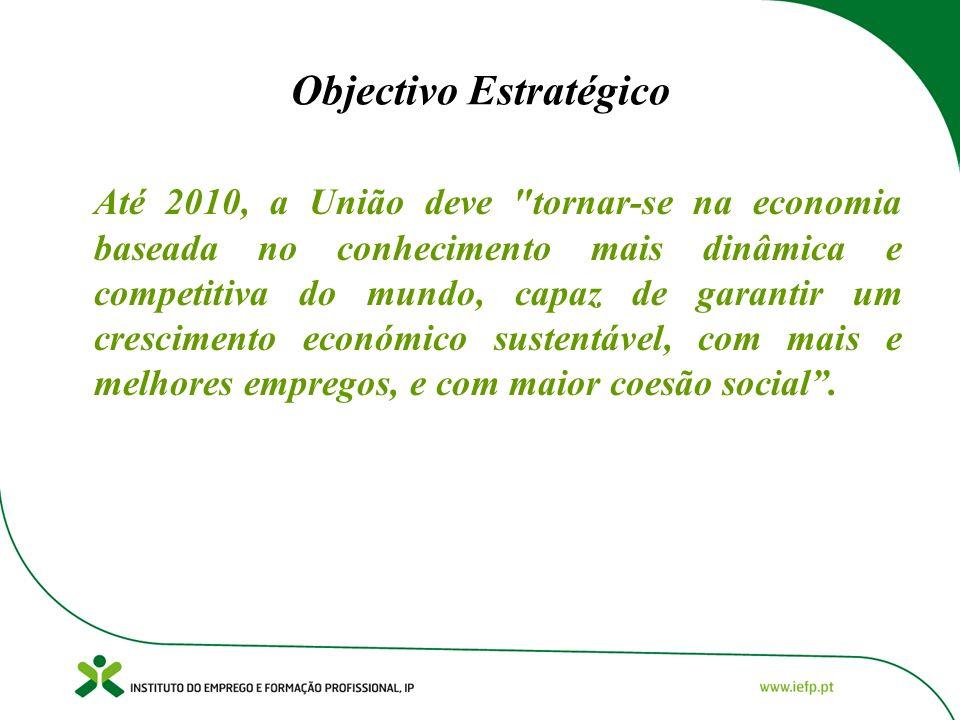 Objectivo Estratégico Até 2010, a União deve