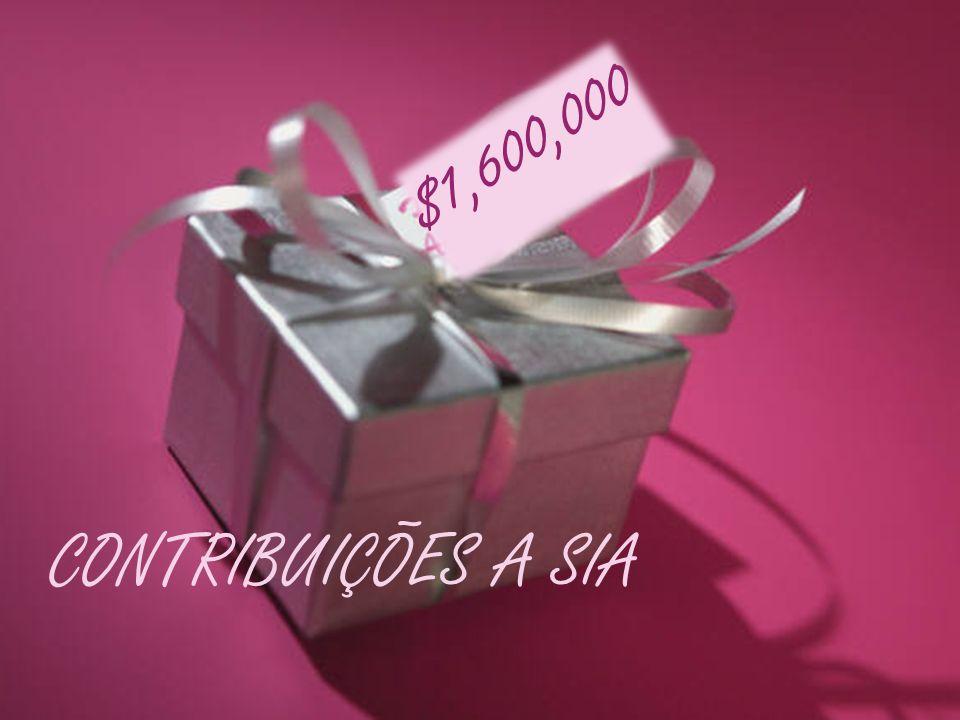 $1,600,000 CONTRIBUIÇÕES A SIA