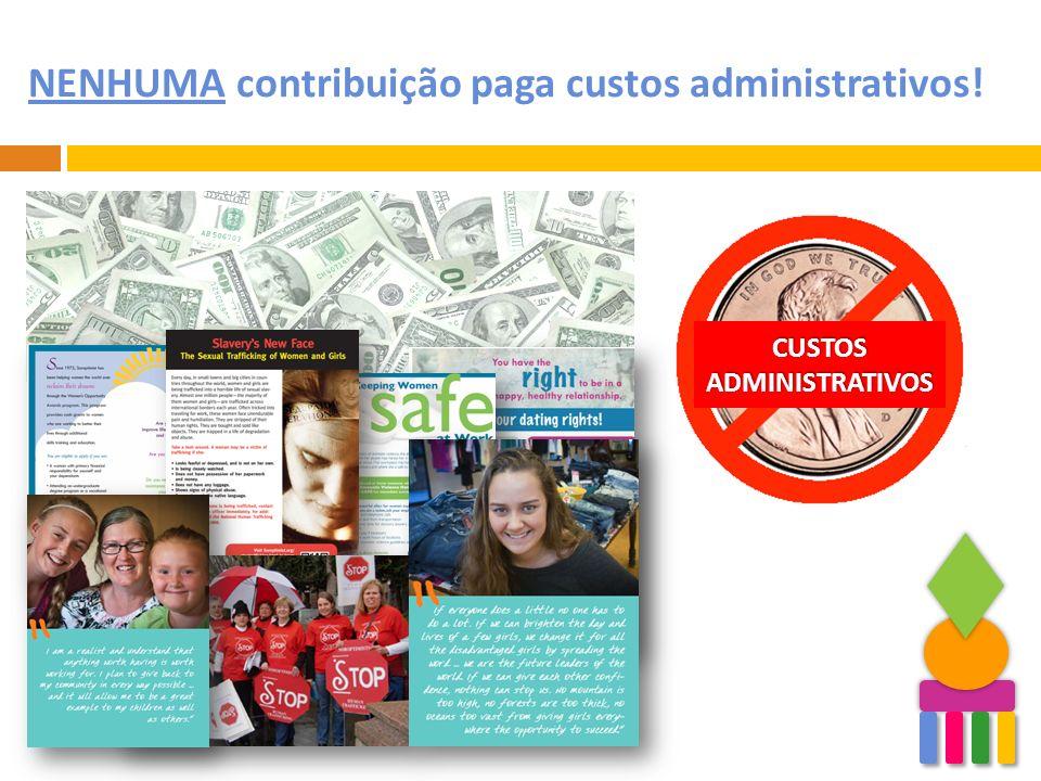 NENHUMA contribuição paga custos administrativos! CUSTOS ADMINISTRATIVOS