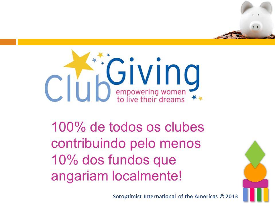 100% de todos os clubes contribuindo pelo menos 10% dos fundos que angariam localmente! Soroptimist International of the Americas 2013