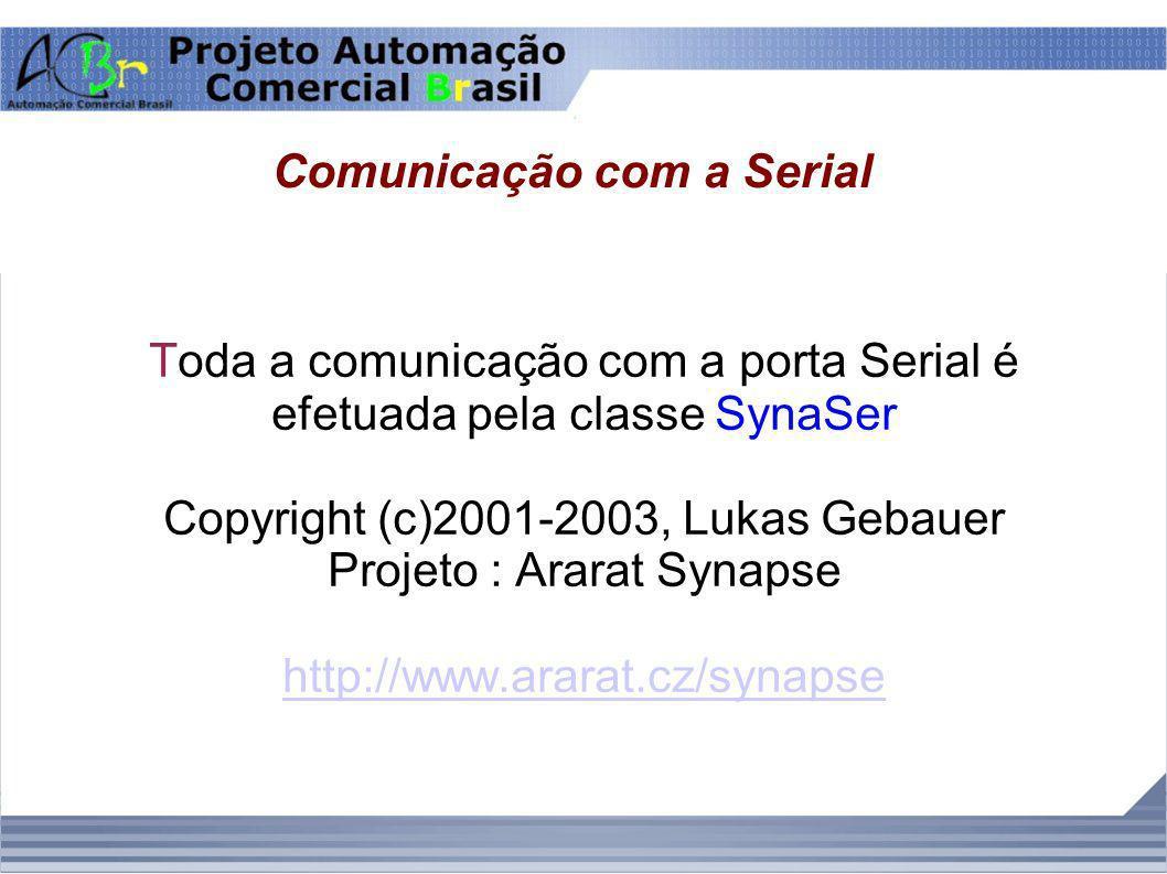 Comunicação com a Serial Toda a comunicação com a porta Serial é efetuada pela classe SynaSer Copyright (c)2001-2003, Lukas Gebauer Projeto : Ararat S