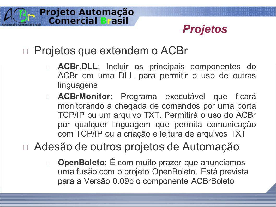 Projetos Projetos que extendem o ACBr ACBr.DLL: Incluir os principais componentes do ACBr em uma DLL para permitir o uso de outras linguagens ACBrMoni