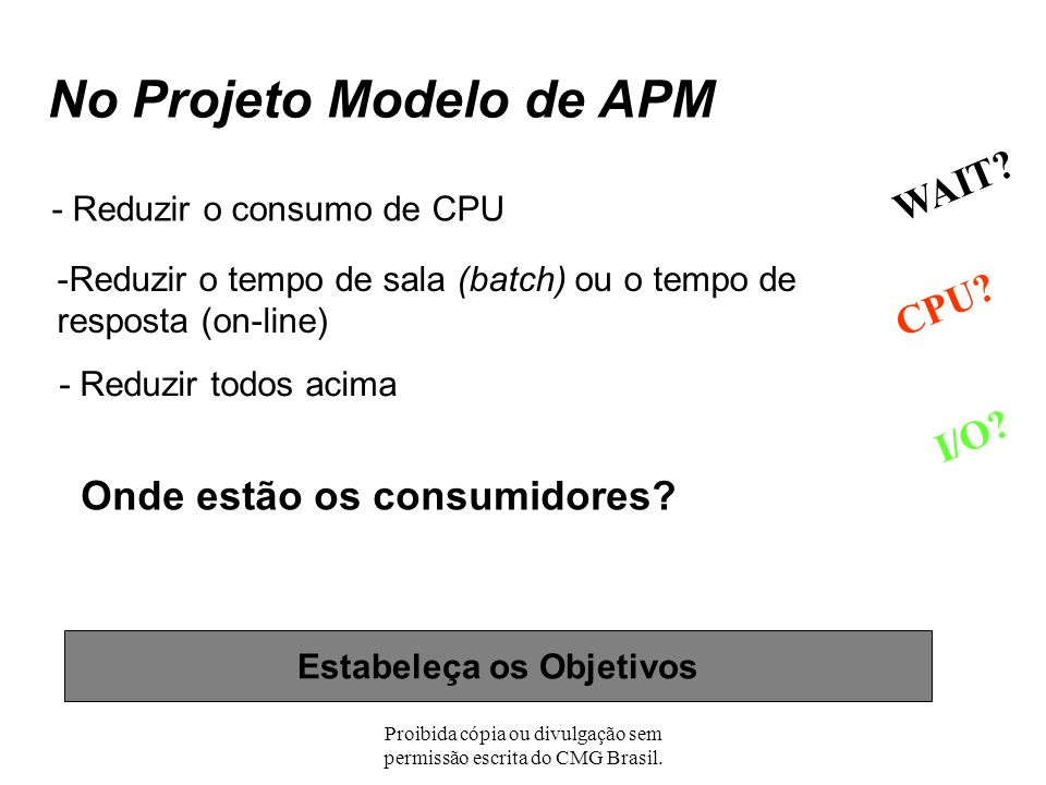 Proibida cópia ou divulgação sem permissão escrita do CMG Brasil. Um Projeto Modelo de APM Uma jornada de 1000 km deve começar com um simples passo -