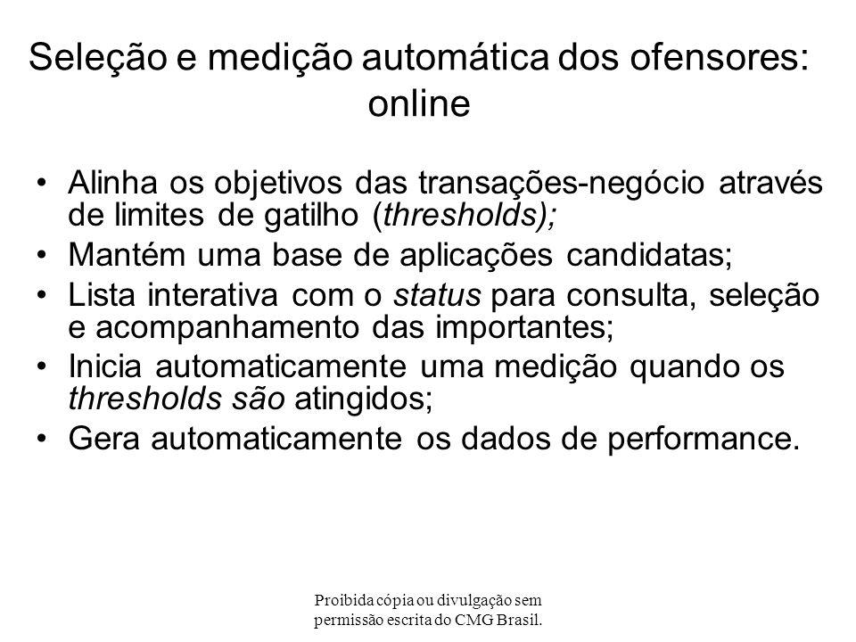 Proibida cópia ou divulgação sem permissão escrita do CMG Brasil. Seleção e medição automática dos ofensores: batch (cont.) Novas aplicações: –Grupo d