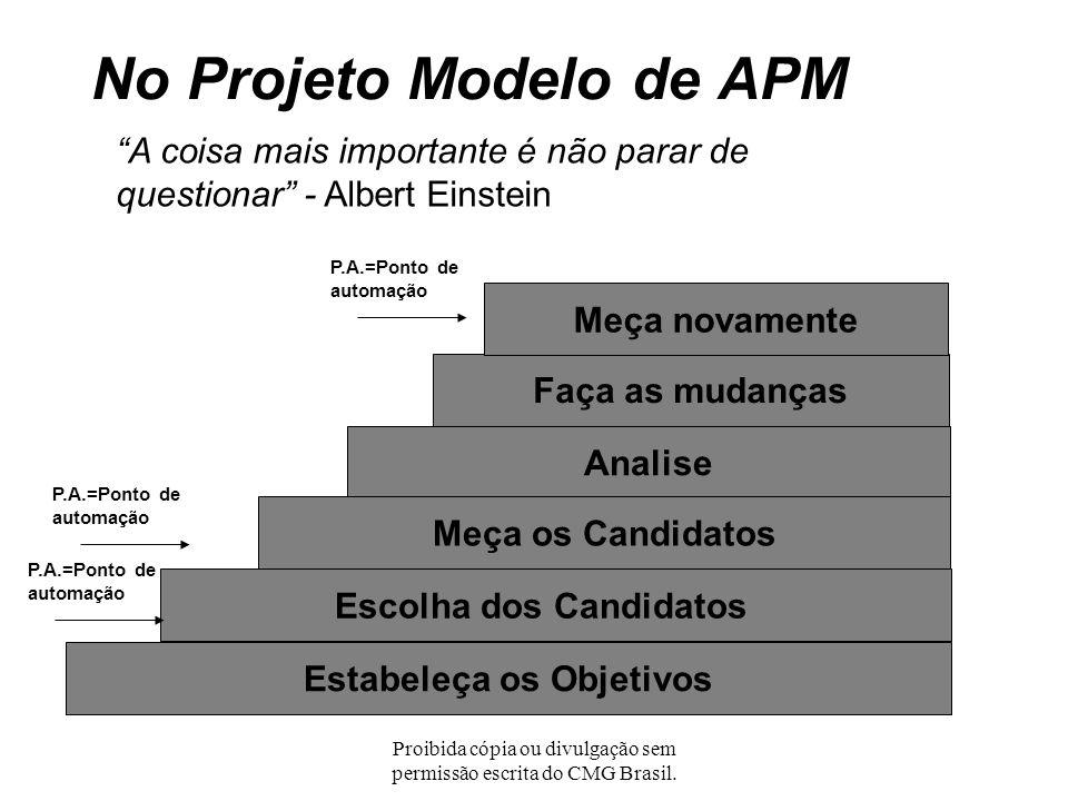 Proibida cópia ou divulgação sem permissão escrita do CMG Brasil. No Projeto Modelo de APM Eles sempre dizem que o tempo muda as coisas, mas, na verda
