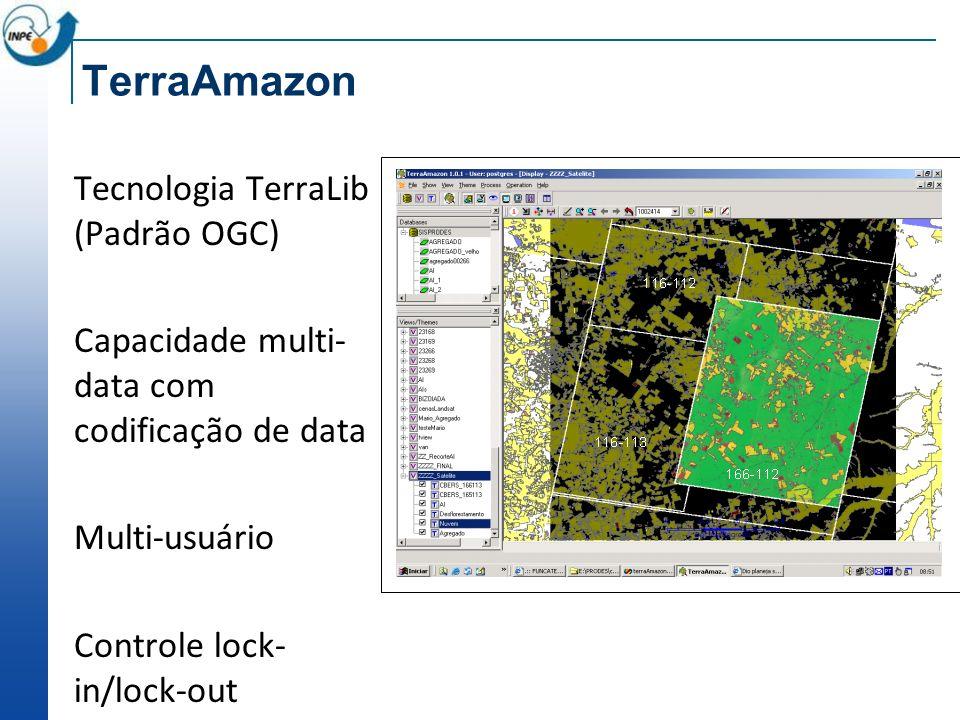 TerraAmazon Tecnologia TerraLib (Padrão OGC) Capacidade multi- data com codificação de data Multi-usuário Controle lock- in/lock-out