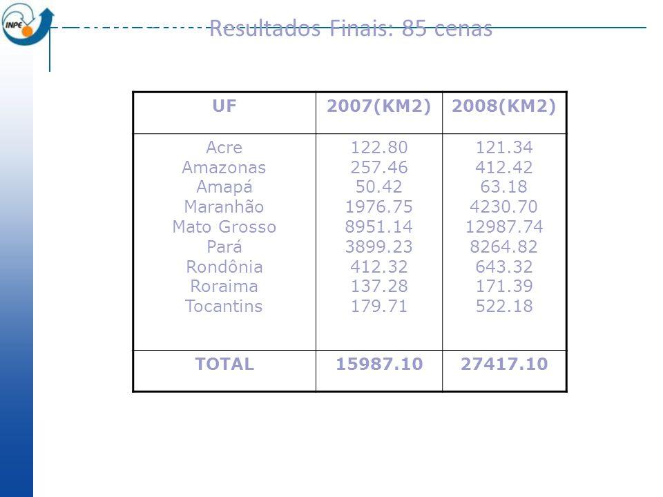 Corte seletivo Resultados Finais: 85 cenas UF2007(KM2)2008(KM2) Acre Amazonas Amapá Maranhão Mato Grosso Pará Rondônia Roraima Tocantins 122.80 257.46