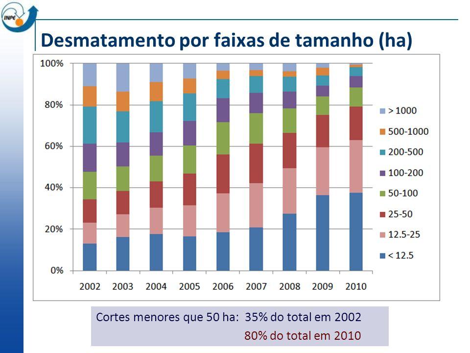Desmatamento por faixas de tamanho (ha) Cortes menores que 50 ha: 35% do total em 2002 80% do total em 2010