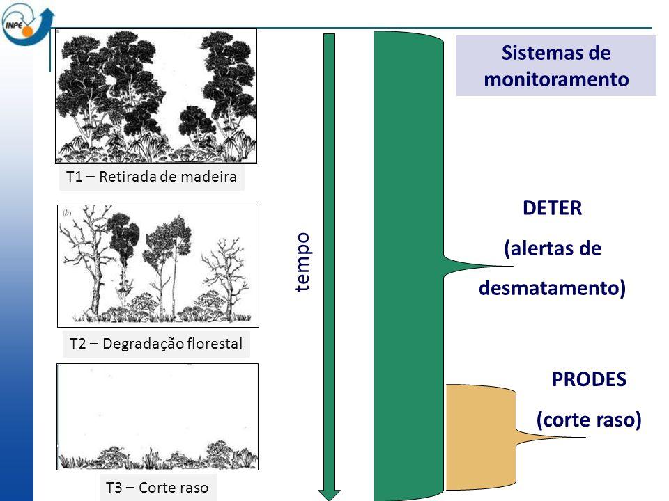 Floresta tempo DETER (alertas de desmatamento) PRODES (corte raso) T1 – Retirada de madeira T2 – Degradação florestal T3 – Corte raso Sistemas de moni