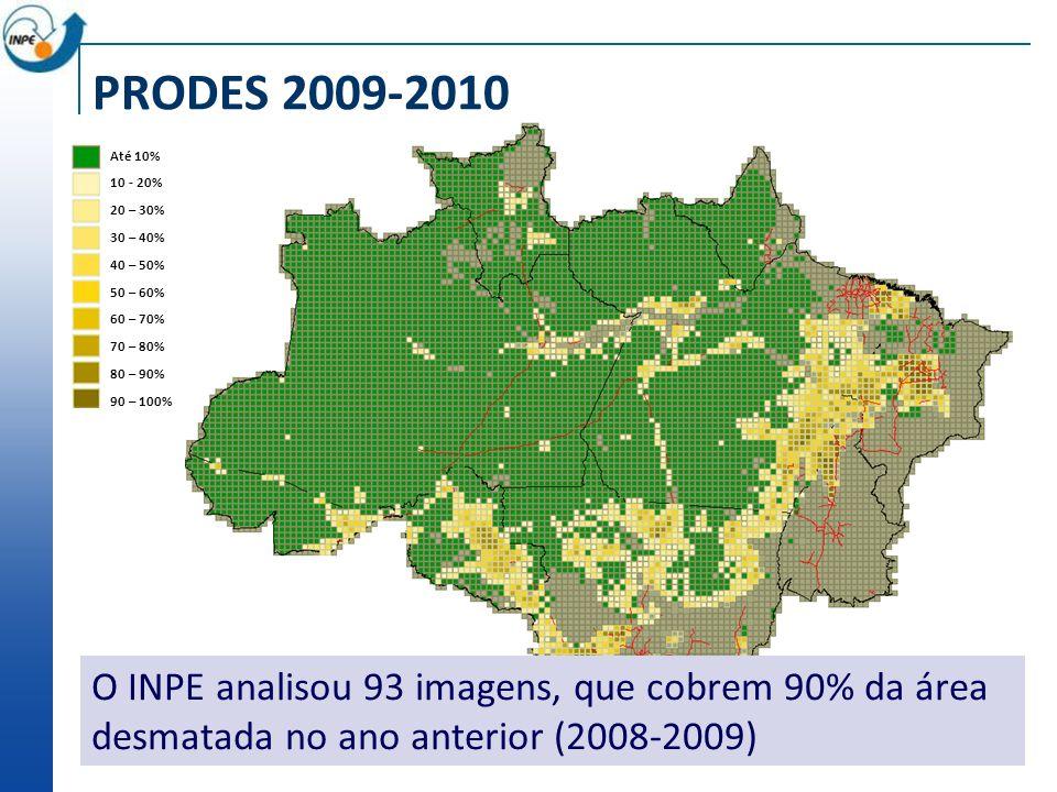 Até 10% 10 - 20% 20 – 30% 30 – 40% 40 – 50% 50 – 60% 60 – 70% 70 – 80% 80 – 90% 90 – 100% O INPE analisou 93 imagens, que cobrem 90% da área desmatada