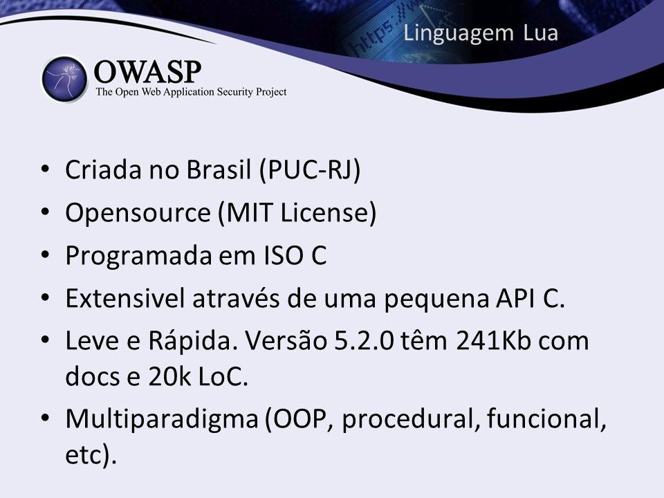 Linguagem Lua Criada no Brasil (PUC-RJ) Opensource (MIT License) Programada em ISO C Extensivel através de uma pequena API C. Leve e Rápida. Versão 5.