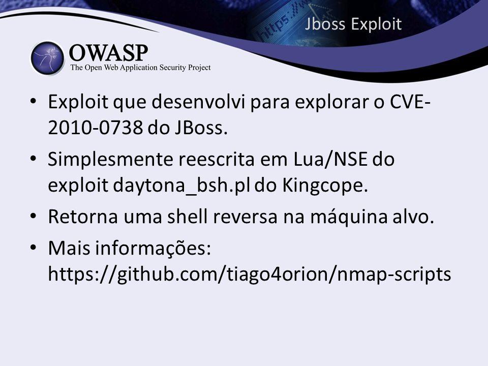 Jboss Exploit Exploit que desenvolvi para explorar o CVE- 2010-0738 do JBoss. Simplesmente reescrita em Lua/NSE do exploit daytona_bsh.pl do Kingcope.