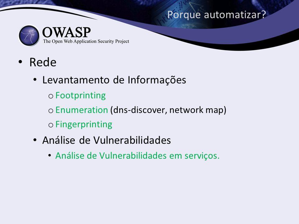 Porque automatizar? Rede Levantamento de Informações o Footprinting o Enumeration (dns-discover, network map) o Fingerprinting Análise de Vulnerabilid