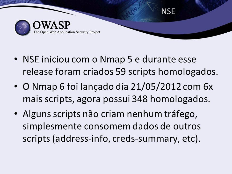 NSE NSE iniciou com o Nmap 5 e durante esse release foram criados 59 scripts homologados. O Nmap 6 foi lançado dia 21/05/2012 com 6x mais scripts, ago