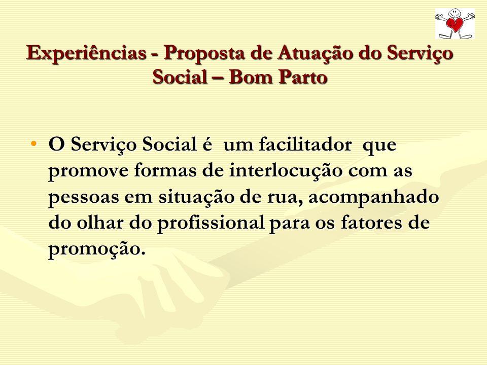 Experiências - Proposta de Atuação do Serviço Social – Bom Parto O Serviço Social é um facilitador que promove formas de interlocução com as pessoas e