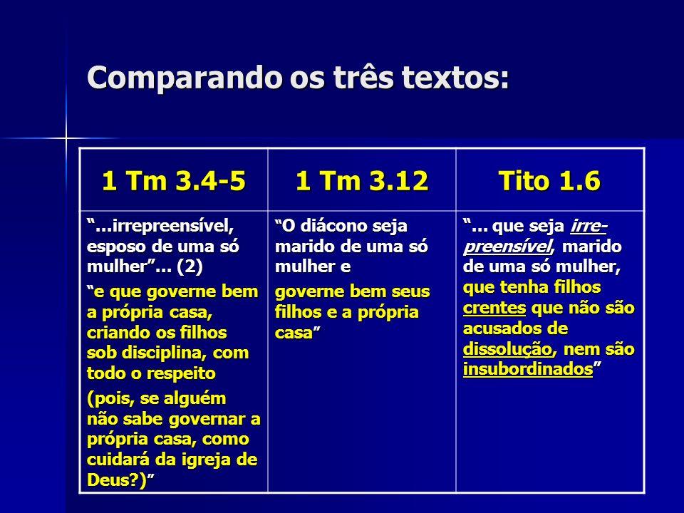 Comparando os três textos: 1 Tm 3.4-5 1 Tm 3.12 Tito 1.6...irrepreensível, esposo de uma só mulher... (2) e que governe bem a própria casa, criando os