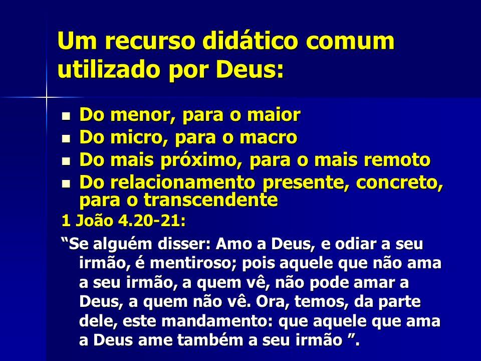 Um recurso didático comum utilizado por Deus: Do menor, para o maior Do menor, para o maior Do micro, para o macro Do micro, para o macro Do mais próx
