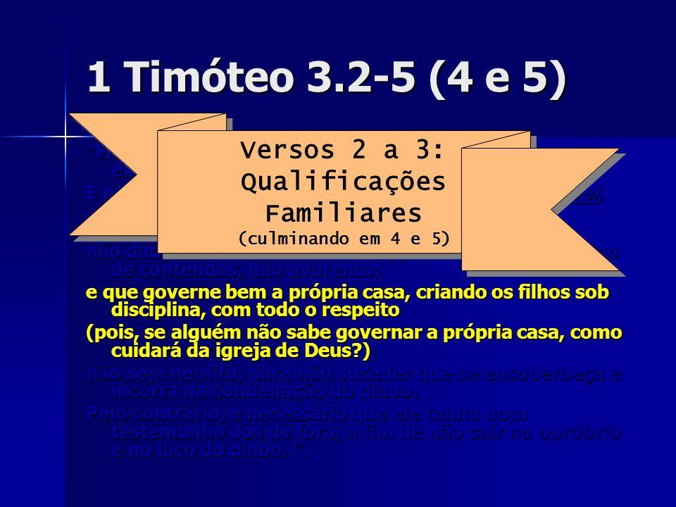 1 Timóteo 3.2-5 (4 e 5) Fiel é a palavra: se alguém aspira ao episcopado, excelente obra almeja. É necessário, portanto, que o bispo seja irrepreensív
