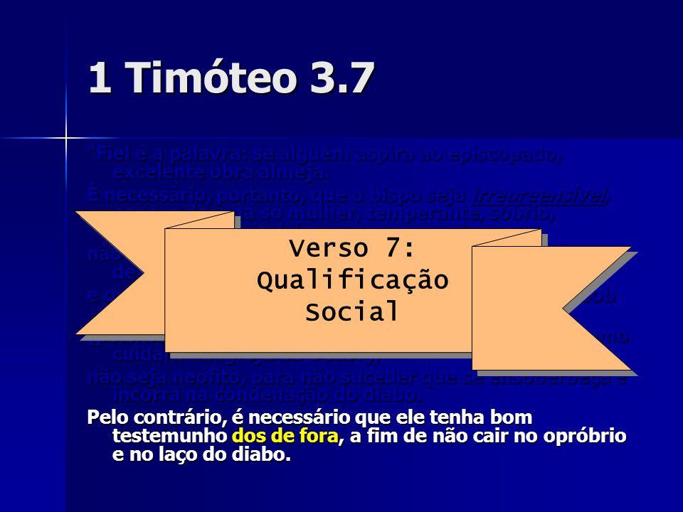 1 Timóteo 3.7 Fiel é a palavra: se alguém aspira ao episcopado, excelente obra almeja. É necessário, portanto, que o bispo seja irrepreensível, esposo