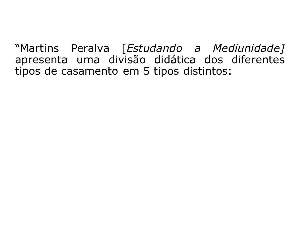 Martins Peralva [Estudando a Mediunidade] apresenta uma divisão didática dos diferentes tipos de casamento em 5 tipos distintos: