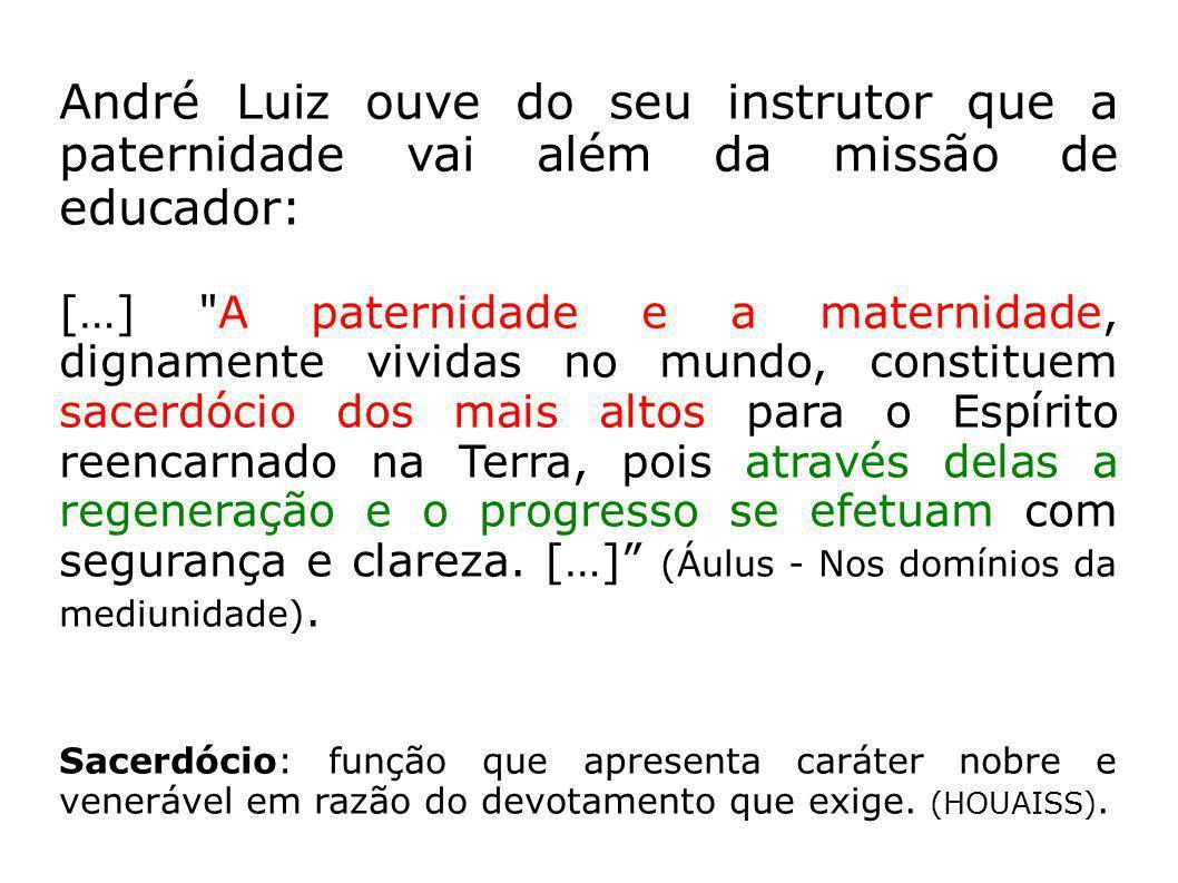 André Luiz ouve do seu instrutor que a paternidade vai além da missão de educador: […]