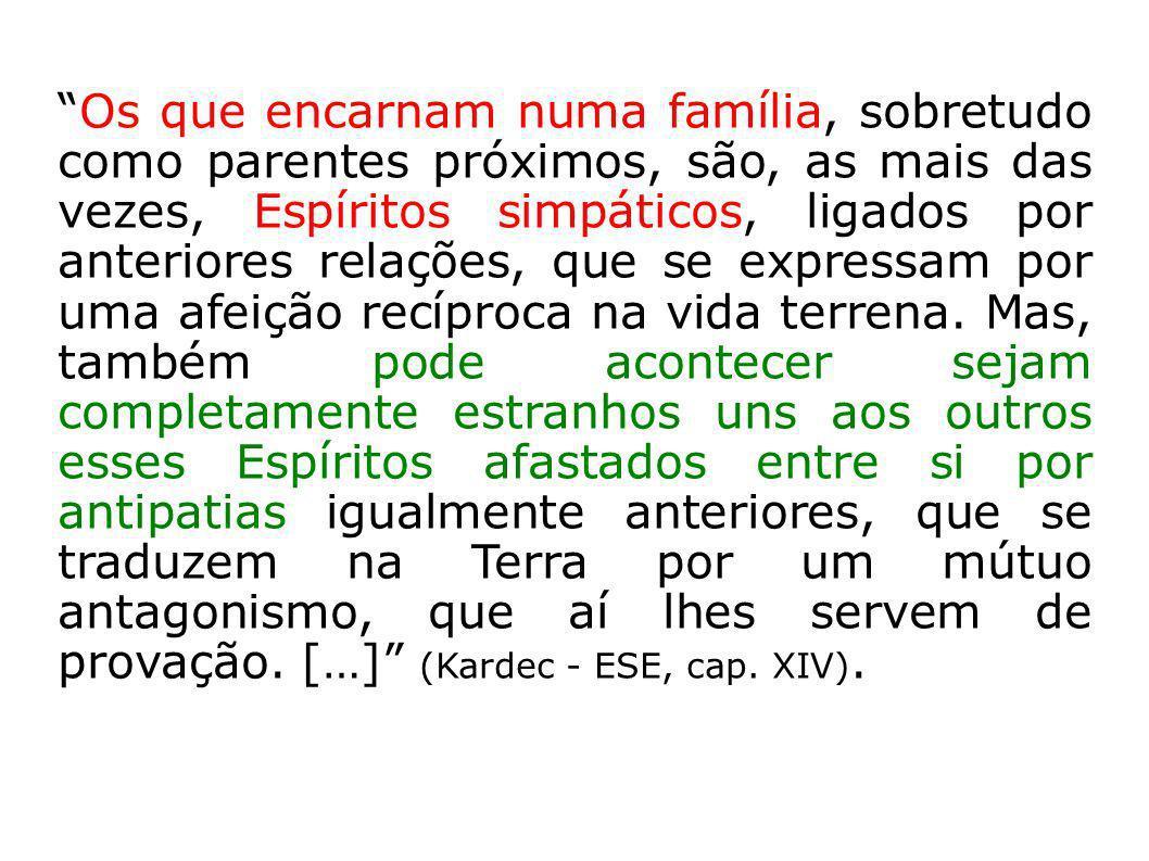 Os que encarnam numa família, sobretudo como parentes próximos, são, as mais das vezes, Espíritos simpáticos, ligados por anteriores relações, que se