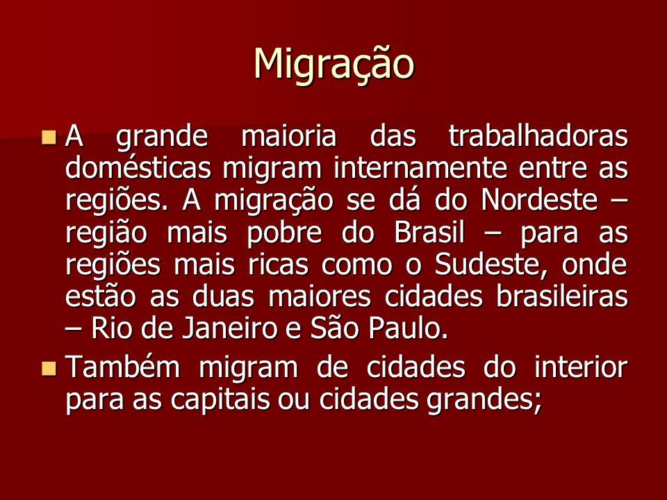 Migração A grande maioria das trabalhadoras domésticas migram internamente entre as regiões. A migração se dá do Nordeste – região mais pobre do Brasi