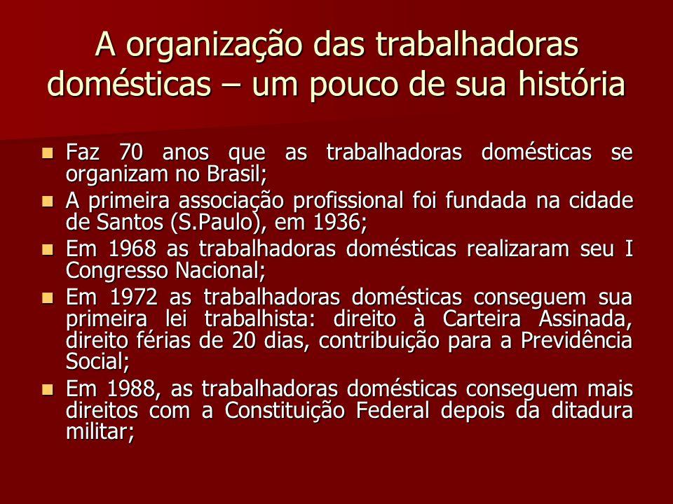 A organização das trabalhadoras domésticas – um pouco de sua história Faz 70 anos que as trabalhadoras domésticas se organizam no Brasil; Faz 70 anos