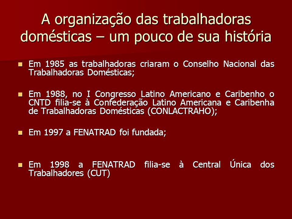 A organização das trabalhadoras domésticas – um pouco de sua história Em 1985 as trabalhadoras criaram o Conselho Nacional das Trabalhadoras Doméstica
