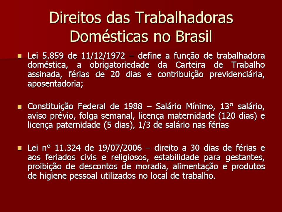 Direitos das Trabalhadoras Domésticas no Brasil Lei 5.859 de 11/12/1972 – define a função de trabalhadora doméstica, a obrigatoriedade da Carteira de