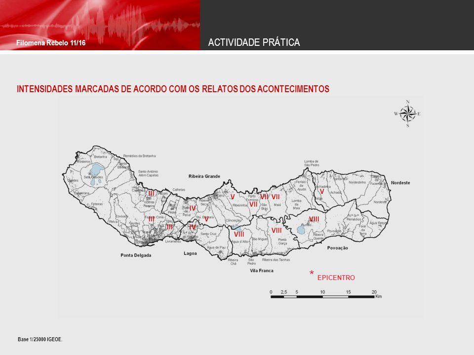 ACTIVIDADE PRÁTICA Filomena Rebelo 11/16 INTENSIDADES MARCADAS DE ACORDO COM OS RELATOS DOS ACONTECIMENTOS IV VII V V VIII V VII VIII III IV III * EPI