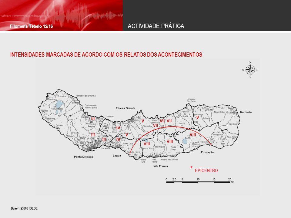 ACTIVIDADE PRÁTICA Filomena Rebelo 12/16 INTENSIDADES MARCADAS DE ACORDO COM OS RELATOS DOS ACONTECIMENTOS IV VII V V VIII V VII VIII III IV III * EPI