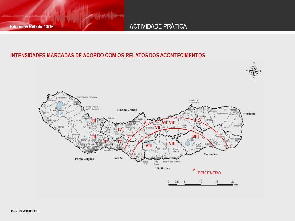 ACTIVIDADE PRÁTICA Filomena Rebelo 13/16 INTENSIDADES MARCADAS DE ACORDO COM OS RELATOS DOS ACONTECIMENTOS IV VII V V VIII V VII VIII III IV III * EPI