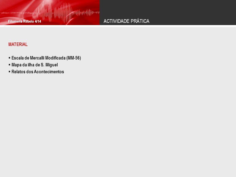 ACTIVIDADE PRÁTICA Filomena Rebelo 4/14 MATERIAL Escala de Mercalli Modificada (MM-56) Mapa da ilha de S. Miguel Relatos dos Acontecimentos