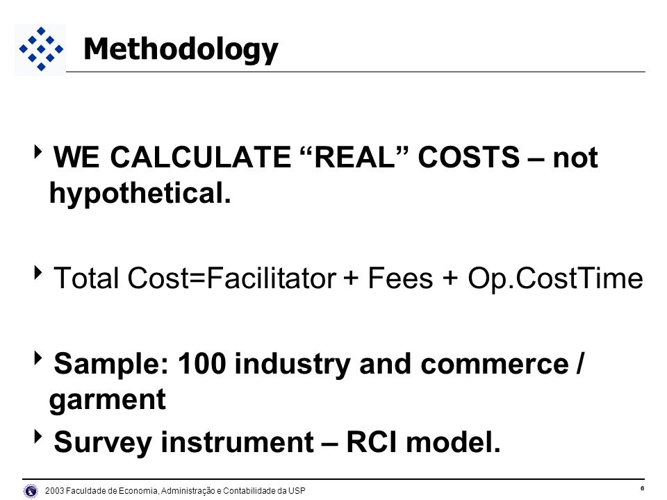 6 2003 Faculdade de Economia, Administração e Contabilidade da USP Methodology WE CALCULATE REAL COSTS – not hypothetical. Total Cost=Facilitator + Fe