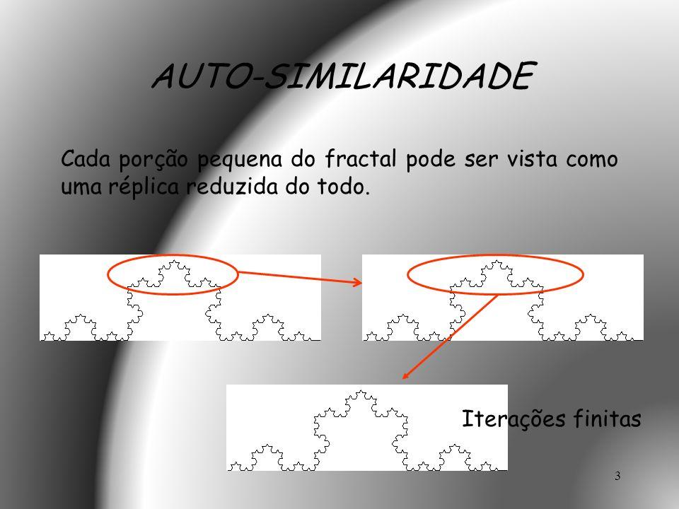 3 AUTO-SIMILARIDADE Cada porção pequena do fractal pode ser vista como uma réplica reduzida do todo. Iterações finitas