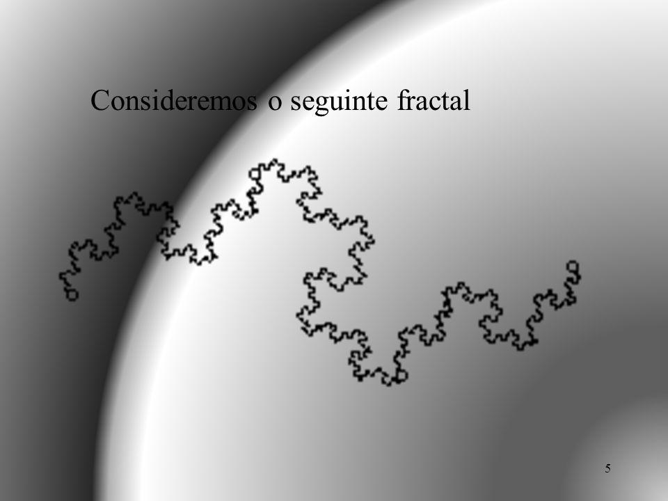 16 CURVA DE VON KOCH Substitui o segmento original por quatro segmentos com 1/3 do comprimento anterior.