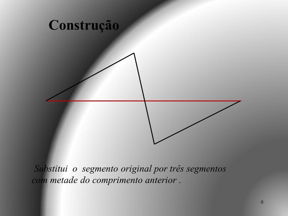 7 Substitui o segmento original por três segmentos com metade do comprimento anterior. Construção
