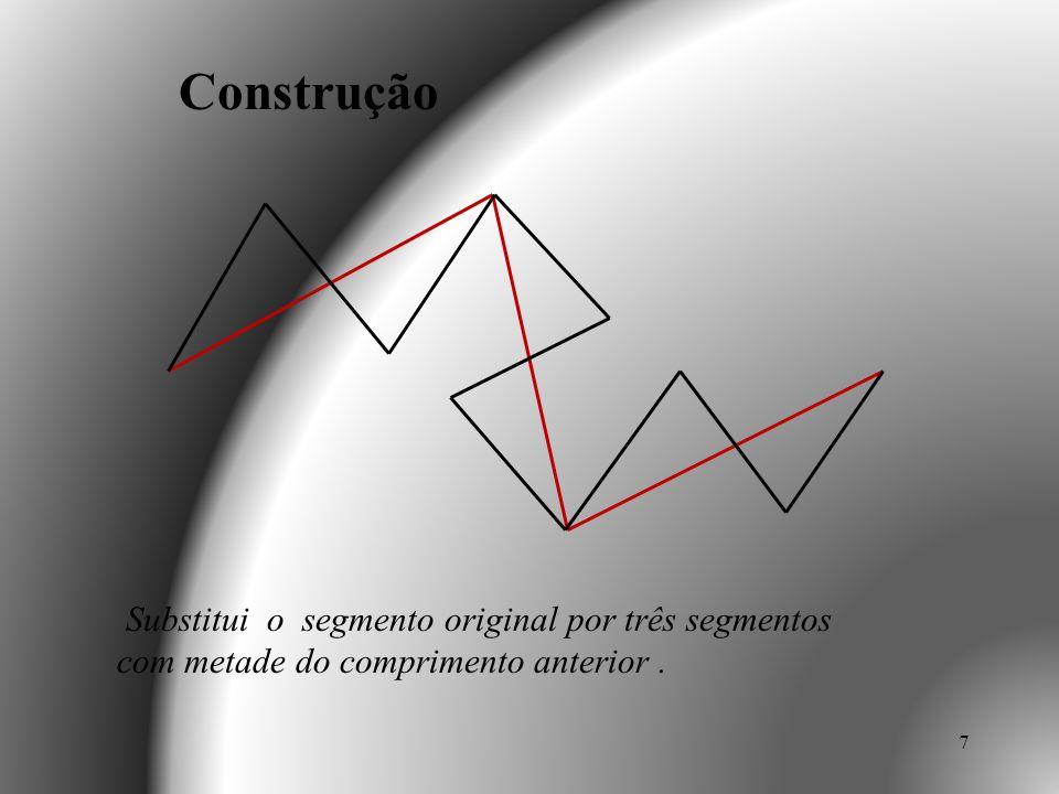 8 Substitui o segmento original por três segmentos com metade do comprimento anterior. Construção