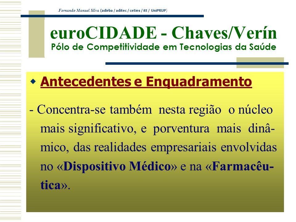 euroCIDADE - Chaves/Verín Pólo de Competitividade em Tecnologias da Saúde Antecedentes e Enquadramento - Concentra-se também nesta região o núcleo mai