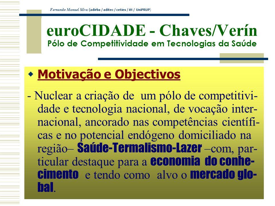 euroCIDADE - Chaves/Verín Pólo de Competitividade em Tecnologias da Saúde Motivação e Objectivos - Nuclear a criação de um pólo de competitivi- dade e
