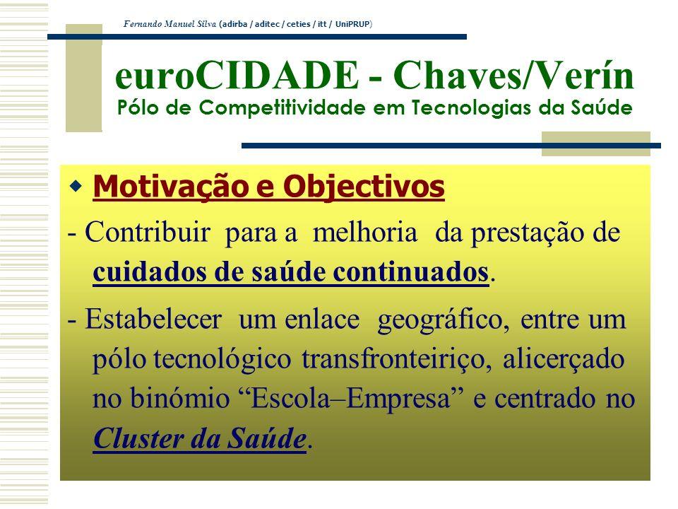 euroCIDADE - Chaves/Verín Pólo de Competitividade em Tecnologias da Saúde Motivação e Objectivos - Contribuir para a melhoria da prestação de cuidados
