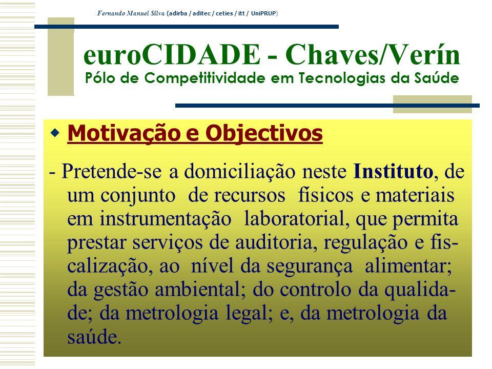 euroCIDADE - Chaves/Verín Pólo de Competitividade em Tecnologias da Saúde Motivação e Objectivos - Pretende-se a domiciliação neste Instituto, de um c