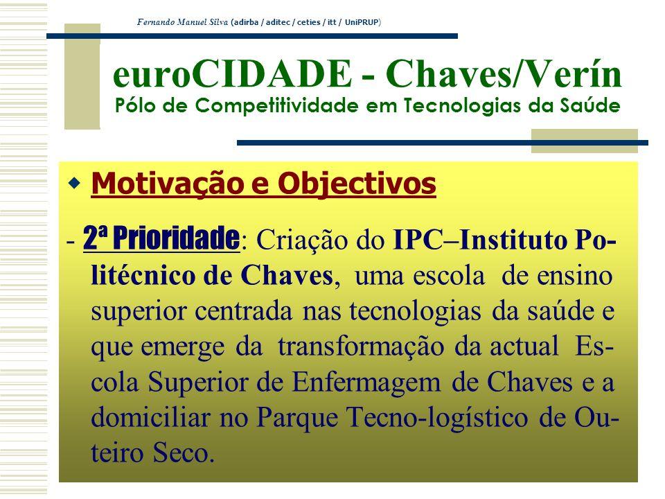 euroCIDADE - Chaves/Verín Pólo de Competitividade em Tecnologias da Saúde Motivação e Objectivos - 2ª Prioridade : Criação do IPC–Instituto Po- litécn