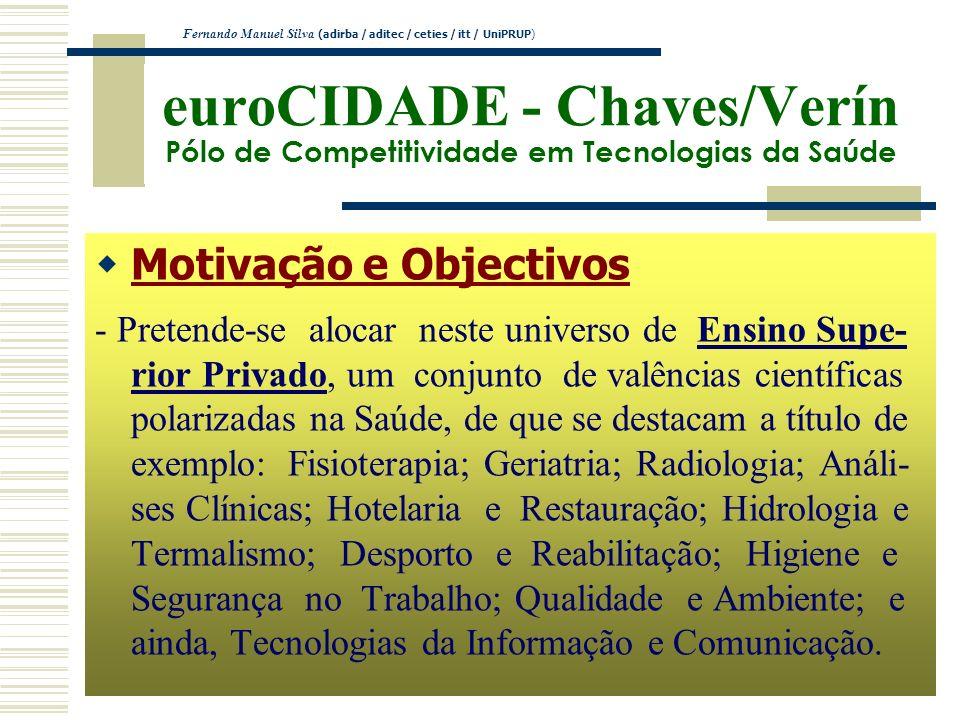 euroCIDADE - Chaves/Verín Pólo de Competitividade em Tecnologias da Saúde Motivação e Objectivos - Pretende-se alocar neste universo de Ensino Supe- r