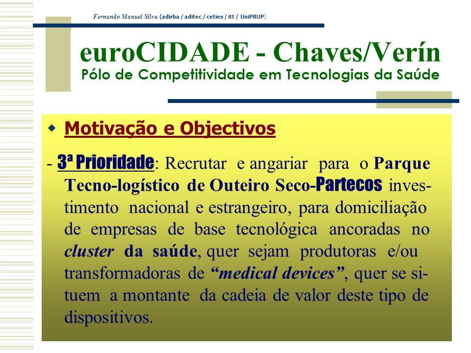 euroCIDADE - Chaves/Verín Pólo de Competitividade em Tecnologias da Saúde Motivação e Objectivos - 3ª Prioridade : Recrutar e angariar para o Parque T