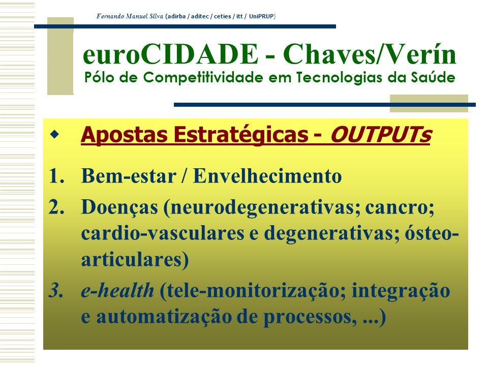 euroCIDADE - Chaves/Verín Pólo de Competitividade em Tecnologias da Saúde Apostas Estratégicas - OUTPUTs 1.Bem-estar / Envelhecimento 2.Doenças (neuro