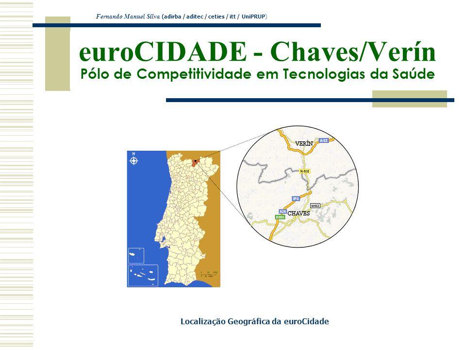 euroCIDADE - Chaves/Verín Pólo de Competitividade em Tecnologias da Saúde Fernando Manuel Silva (adirba / aditec / ceties / itt / UniPRUP) Localização