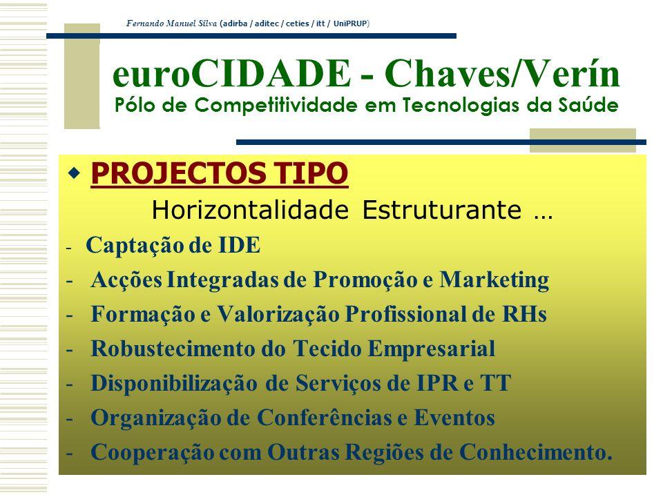 euroCIDADE - Chaves/Verín Pólo de Competitividade em Tecnologias da Saúde PROJECTOS TIPO Horizontalidade Estruturante … - Captação de IDE -Acções Inte