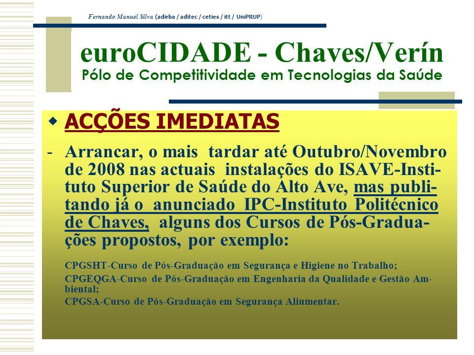 euroCIDADE - Chaves/Verín Pólo de Competitividade em Tecnologias da Saúde ACÇÕES IMEDIATAS -Arrancar, o mais tardar até Outubro/Novembro de 2008 nas a